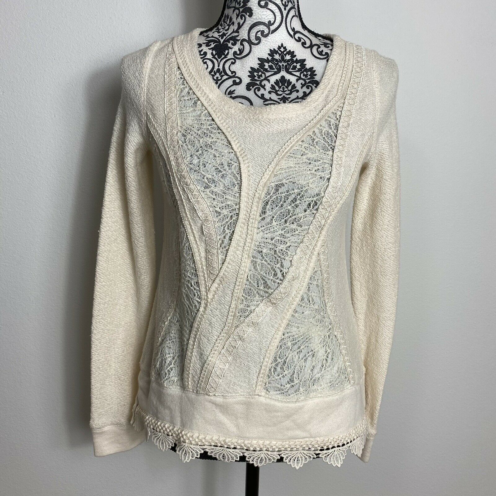 Angel Of The North Fairycore Lace Detail Sweater … - image 1