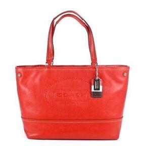 NWT-Coach-Hampton-Weekend-Perforated-Leather-Tote-Handbag-in-Carnelian-19391