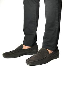 Authentic PRADA men's black suede moccasins shoes | Size 9 (29 cm/11.4 in)