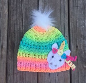 ae26857a3 Details about Unicorn Hat Rainbow Hat Pom Pom Unicorn Rainbow Hat Crochet  Unicorn Gift