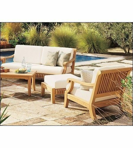 Lounge sofa outdoor teak  GIVA Grade-a Teak Wood 6 PC Large Sofa Lounge Chair Set Outdoor ...