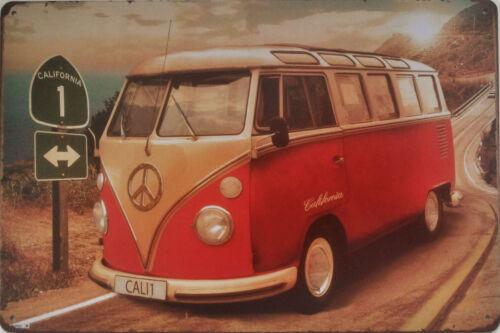 Surfing beach hippy retro man cave tin sign Transporter Camper Van metal plaque