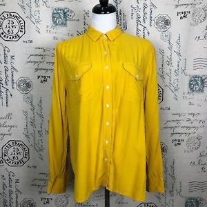 Women-039-s-Ann-Taylor-Loft-Button-Up-Blouse-in-Mustard-Yellow-sz-L-rayon-soft