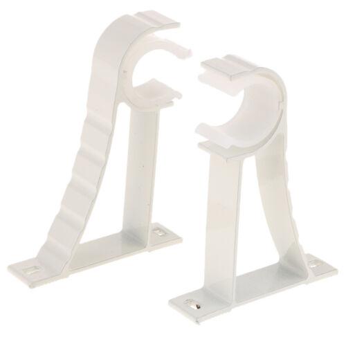 Heavy Duty Metal Curtain Rod Pole Wall Bracket Holder 2pcs White 28mm Dia