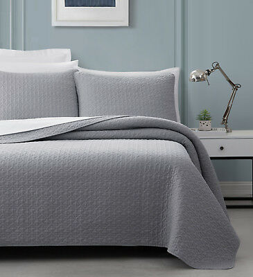 SuperBeddings PreWash Quilt Titan Cotton Bedspread Coverlet 3pc Queen Set Ivory