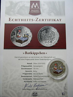 Gebrüder Grimm ,Gedenkprägung PP , Rotkäppchen , Silber+Farbe+CAO, #10