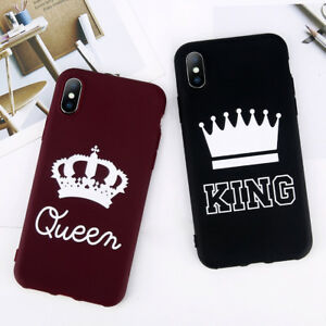 2913d04d79 For iPhone XS Max XR X 6S 7 8 King Queen Couple Crown Soft Thin ...