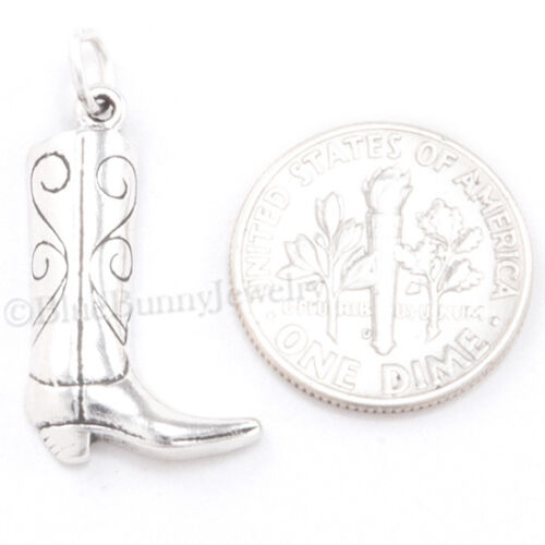 Cowboy Boot Charm Pendentif Western Cheval Charme Argent Sterling .925 925