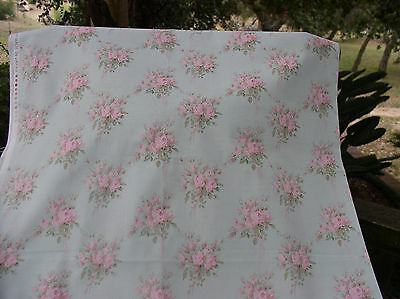 Yuwa Vintage Inspired Pink Rose Bouquets on Aqua Yd. Cotton Fabric 1 yd.