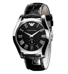 Emporio-Armani-AR0644-Black-Leather-Roman-Numerals-Women-039-s-Watch