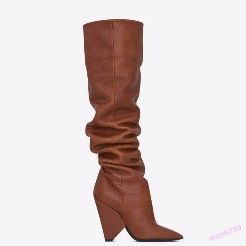 donna High Block Heel Over Knee Thigh stivali Pointed toe Leather Slouch 34-44