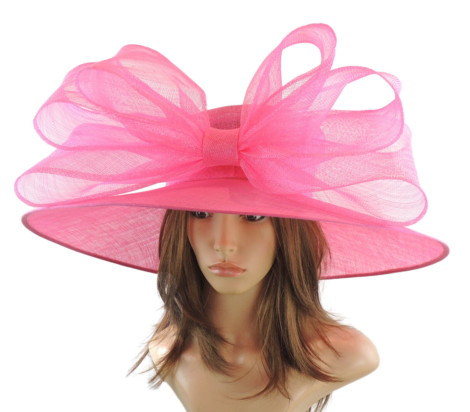 Hot Pink Large Ascot Hat for Weddings, Ascot, Derby in many colors HM3
