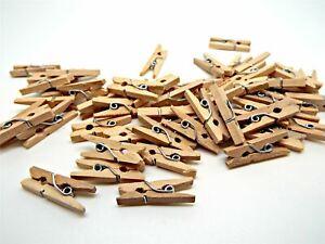 200 En Bois Mini Pinces Art & Craft Jouets Petits Clips Nom Cartes Porte-photos Decor-afficher Le Titre D'origine Bon Pour AntipyréTique Et Sucette De La Gorge
