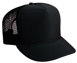 Image is loading Black-Trucker-Hat-Brand-New-Black-Mesh-Black- Black Trucker Hat Brand New - Mesh Foam Cap