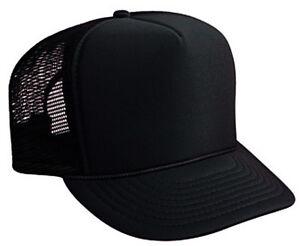 Black Trucker Hat Brand New - Black Mesh Black Foam Mesh Cap ... 30285182059