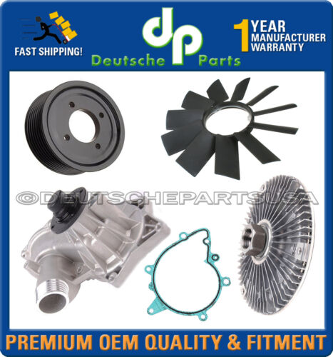 FAN BLADE CLUTCH WATER PUMP ALUMINUM PULLEY KIT 5 for BMW E32 E34 540i 740