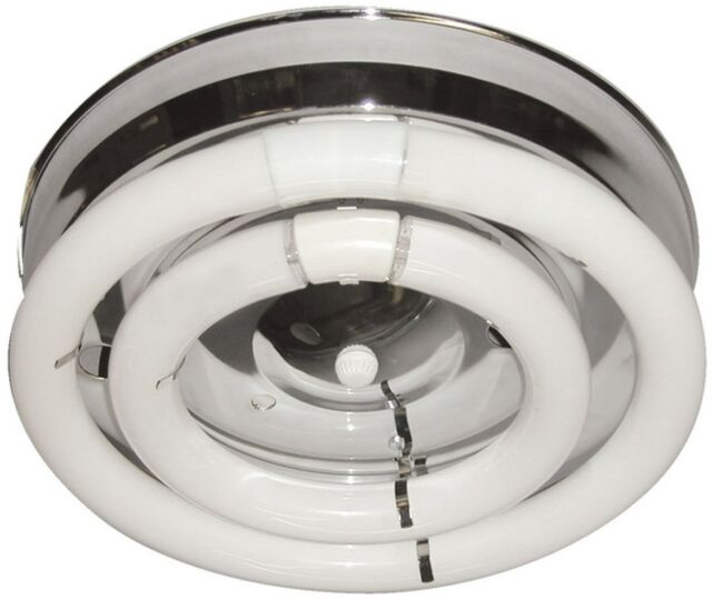 2 Fluorescent Circline Open Bulb Chrome Ceiling Hallway Kitchen Light Fixtures