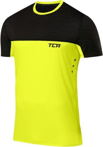 TCA Hazard Mens T-Shirt Black Lime Short Sleeve Top Gym Running Training Workout