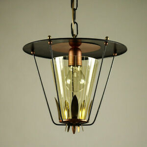 Pendel-Leuchte-Laterne-Kupfer-amp-Schwarz-Haenge-Lampe-Kette-Vintage-50er-Jahre