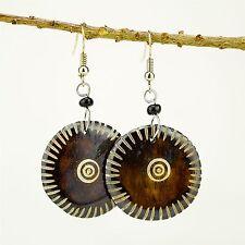 Tribal Handmade African Jewelry Round Brown Bovine Cow Bone earrings 488-134