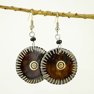 Tribal-Handmade-African-Jewelry-Round-Brown-Bovine-Cow-Bone-earrings-488-134
