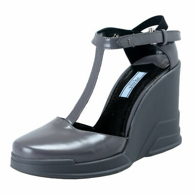 Prada Gray Leather Ankle Wedges T-Strap Sandals Shoes Sz 6 7 7.5 8 8.5 9 10