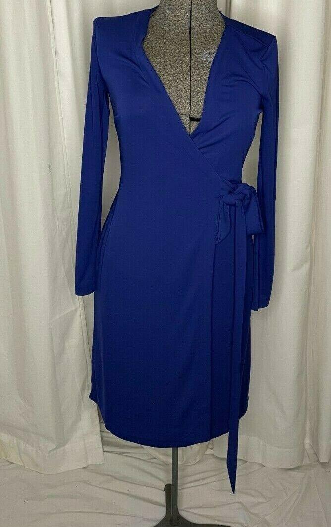 Ann Taylor Royal Purple Weomens wrap dress size 2 visual sample