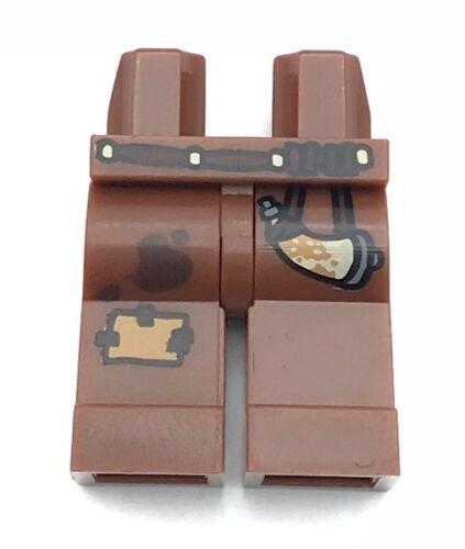 Lego New Medium Dark Flesh Minifig Legs Leather Shirt Reddish Brown Overalls