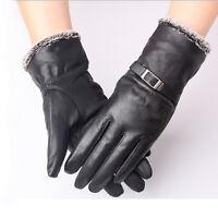 Black Mens Police Genuine Sheep Leather Winter Soft Driving Sheepskin Gloves L