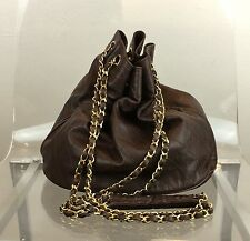 CHANEL Women's VNTG Brown Leather Quilt-Textured Bucket/Boxer Bag - RARE