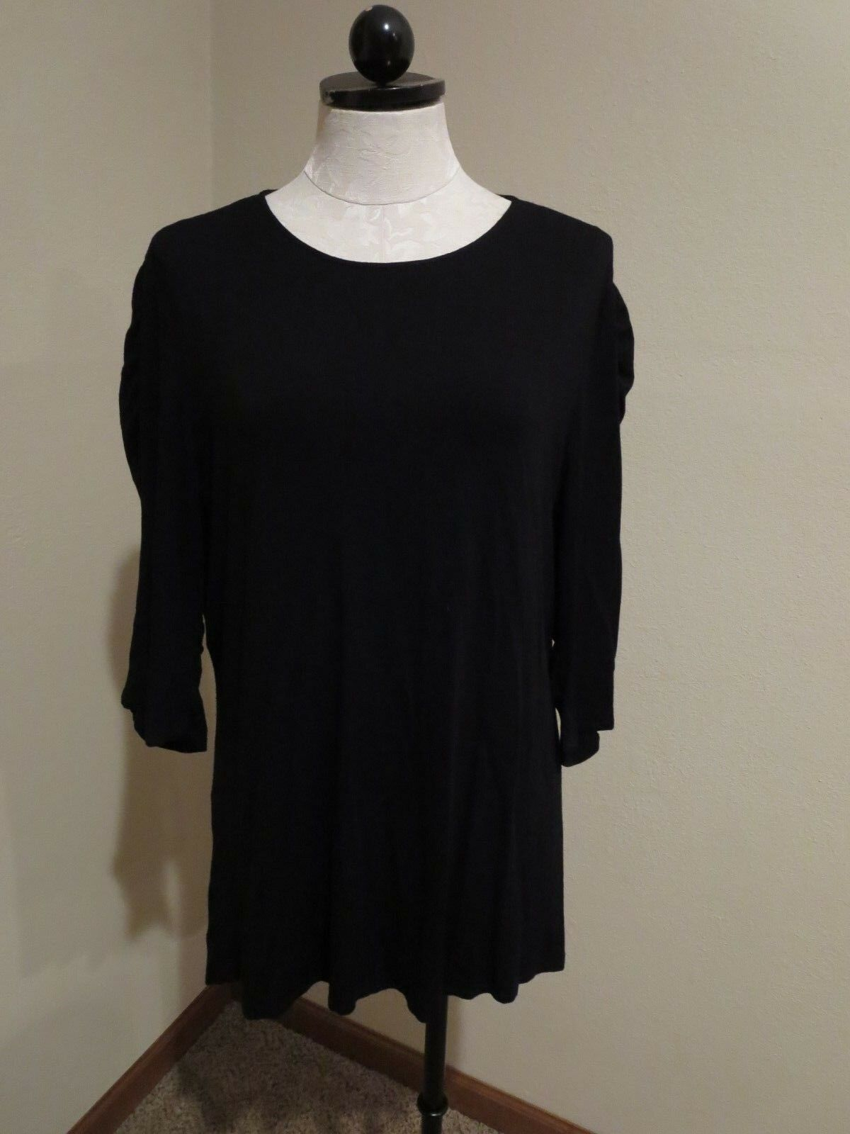 Mieko Mintz schwarz asymmetrical ruched sleeve tunic top shirt sz 4