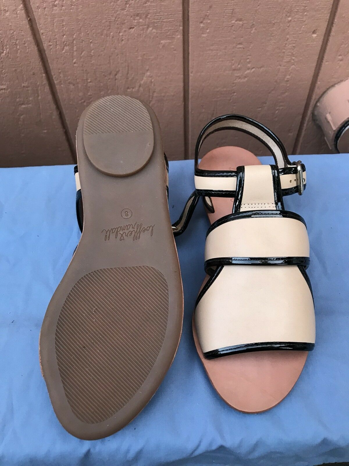 NEW Loeffler Randall Size Size Size US 8 Beige Cross Strap Leather Flat Sandal Buckle A5 72ec68