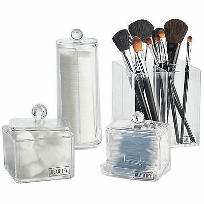 Beautify 4 Piece Cosmetics Make Up Storage Organiser Toiletries Container Set