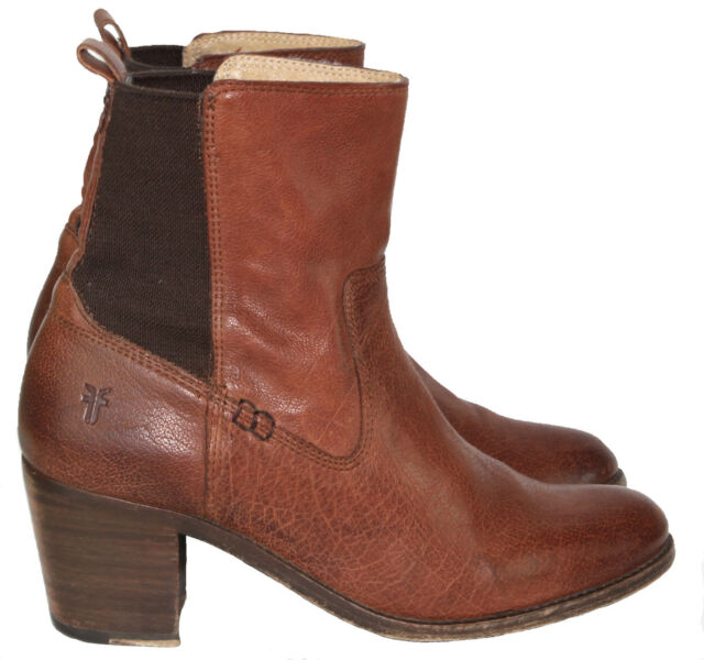 c3b467f7733 $348 Frye 'Janis Gore' Short Whiskey Brown Leather Ankle Boots 7.5M EUC
