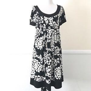 London-Times-Floral-A-Line-Dress-Womens-Size-10-Short-Sleeve-Black-White