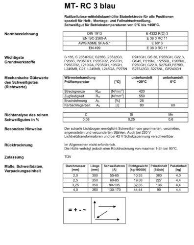3.25 /& 4.0 1 kg Stabelektrode MT ø: 2.0 RC 11 RC 3 blau 2.5