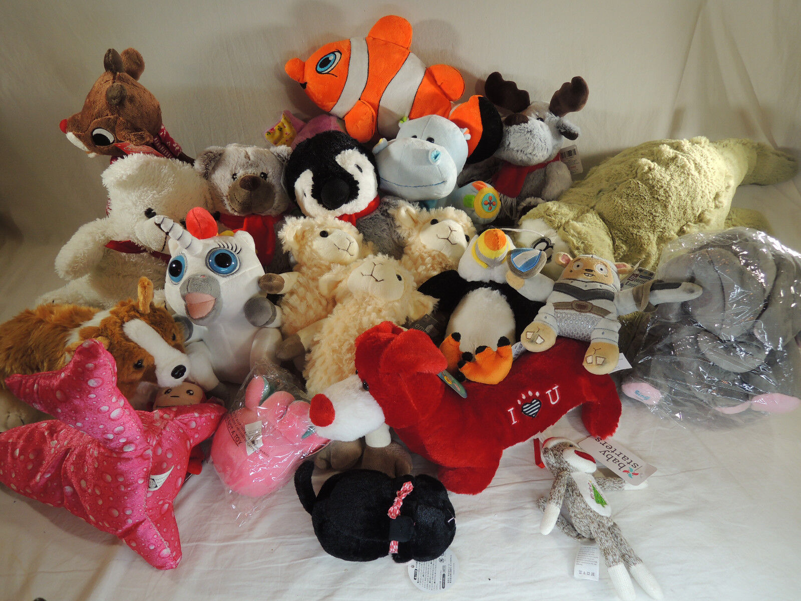 Huge Lot of 23 Assorted Stuffed Animal Toys S M L Rudolph Gator Dog Elephant