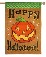 Burlap Happy Halloween Pumpkin Double Applique House Flag