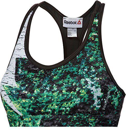 New Reebok Sports Bra Vest Top Ladies Womens Running Gym Training Fitness Green