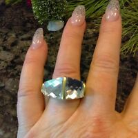Silpada Dual Crystal Large Double Crystal Statement Ring Kr0126 Size 8