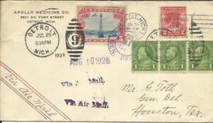 US BEACON ISSUE-Sc#C11,#645,#632(x3) DETROIT MICH JUL/28/1928-SCARCE