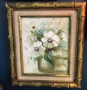 Excellent Oil painting beautiful red spring flowers in vase in landscape canvas