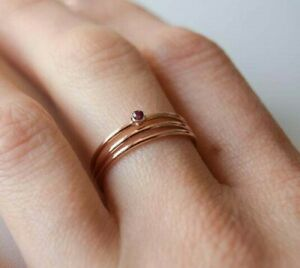 gold filled stacking ring handmade UK Seller Black spinel ring 14k gold ring