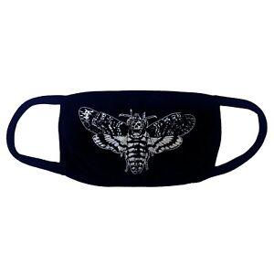Kreepsville-666-Gothic-Horror-Punk-Death-Moth-Black-Fabric-Reusable-Face-Mask