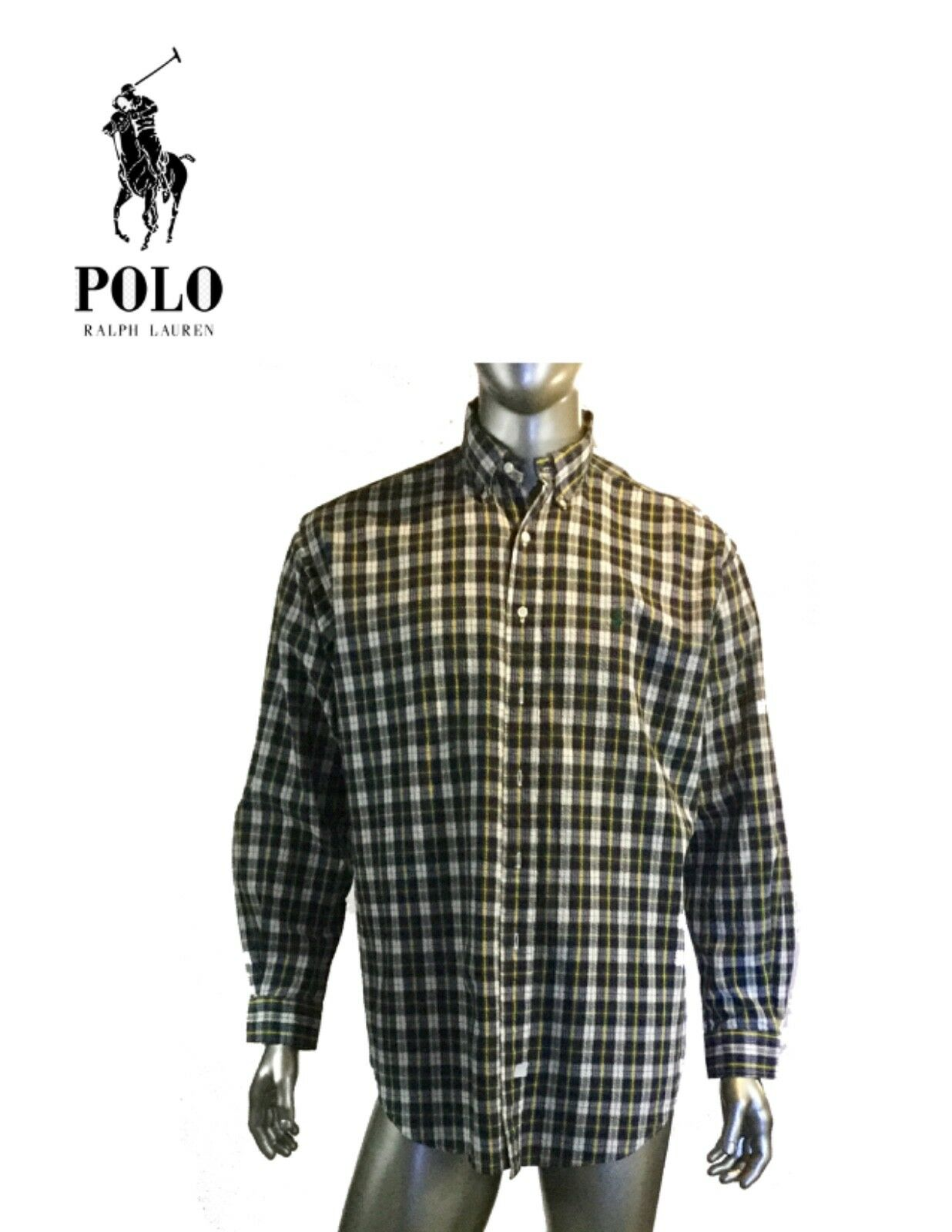 30d130c4 Vintage Ralph Lauren Mens Button Front Navy, Cotton, L Plaid, Shirt ...