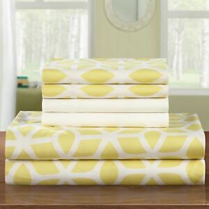NEW-Twin-Queen-King-Bed-Yellow-White-Geometric-6-pc-Sheet-Extra-Pillowcases-Set