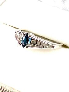 10K-SOLID-WHITE-GOLD-1-2-CT-SAPPHIRE-MARQUISE-DIAMOND-ENGAGEMENT-RING-SIZE-6-75
