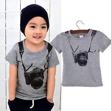 Summer Children Boy Kids Camera Short Sleeve Tops T Shirt Tees Clothes 90 US