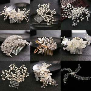 Bridal-Wedding-Pearl-Flower-Crystal-Hair-Pins-Clips-Bridesmaid-Side-Comb-Jewelry