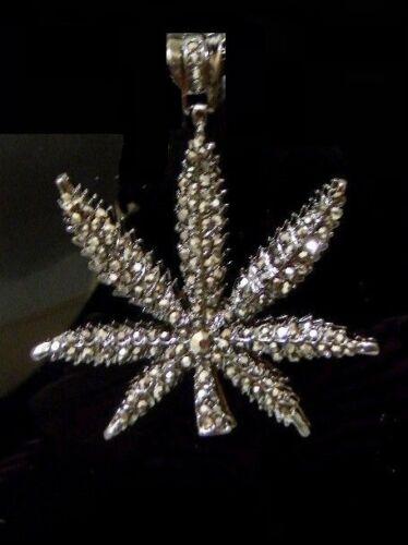 Hematite Hip Hop   Weed Plant Leaf Marijuana Pendant Necklace Chain Franc